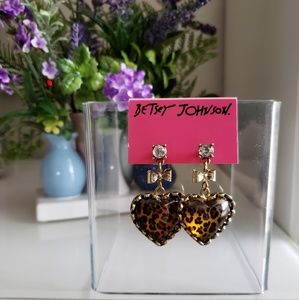Betsey Johnson Leopard Bow Heart Earrings